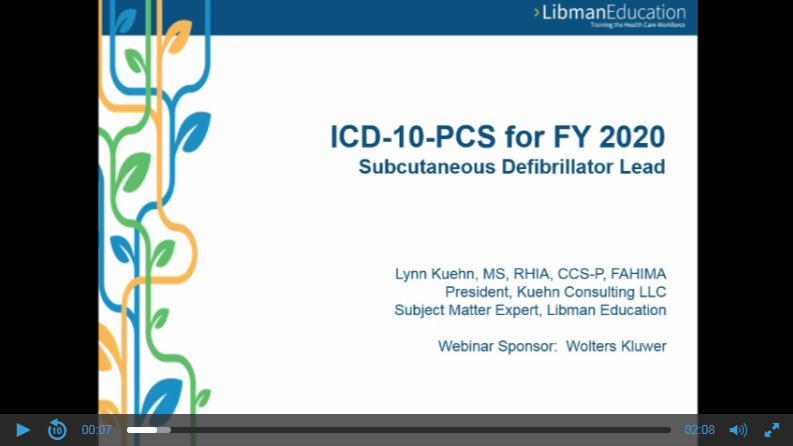 ICD-10-PCS for FY 2020: Subcutaneous Defibrillator Lead